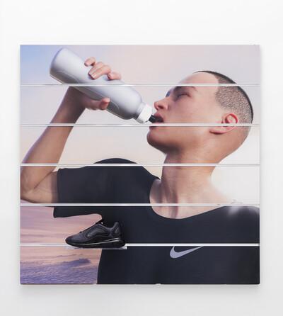 Board (Nike), 2019. Digital print on slatwall panel 120 x 120 x 17 cm. - © Ben Elliot