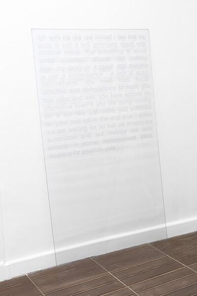 t-board, 2016. Helvetica on polycarbonate, 150 x 80 cm. - © Ben Elliot