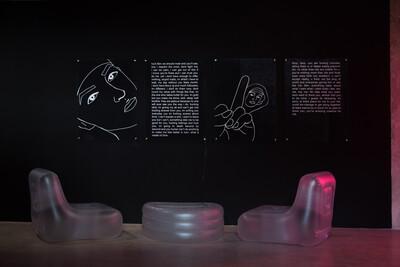 The Stalker, 2019. 100 x 160cm each diptych. Digital print on polycarbonate. - © Ben Elliot